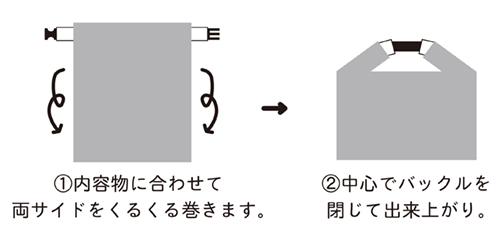1.内容物に合わせて両サイドをくるくる巻きます。2.中心でバックルを閉じて出来上がり。