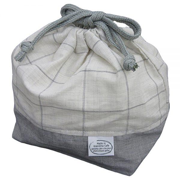 Made in Grandma Cafe ランチ巾着 ホワイト×グレー