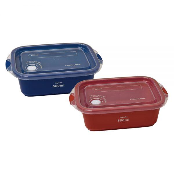 ffait maison 保存容器500ml(2個セット) レッド&ネイビー