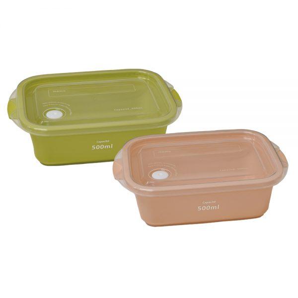 ffait maison 保存容器500ml(2個セット) ピンク&グリーン